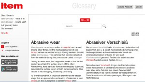 Glossary 'item' with definitions in English and German